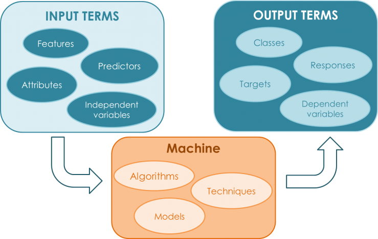 Machine Learning Vocabulary. Input and Output terms. Features, Attributes, Classes, Algorithms, Techniques.